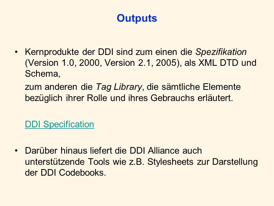 OutputsKernprodukte der DDI sind zum einen die Spezifikation (Version 1.0, 2000, Version 2.1, 2005), als XML DTD und Schema,