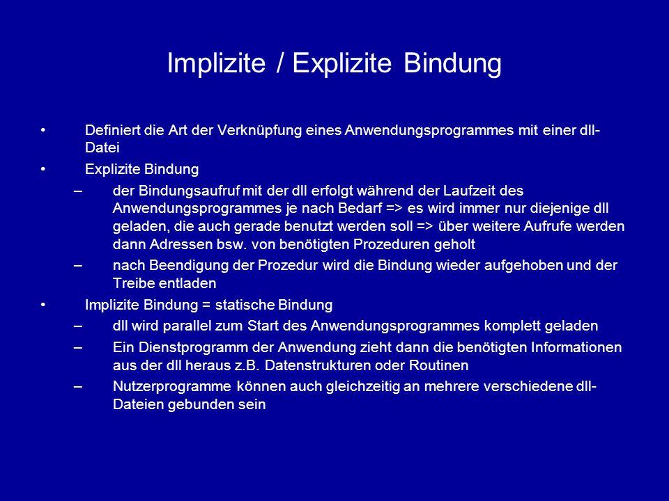 Implizite / Explizite Bindung