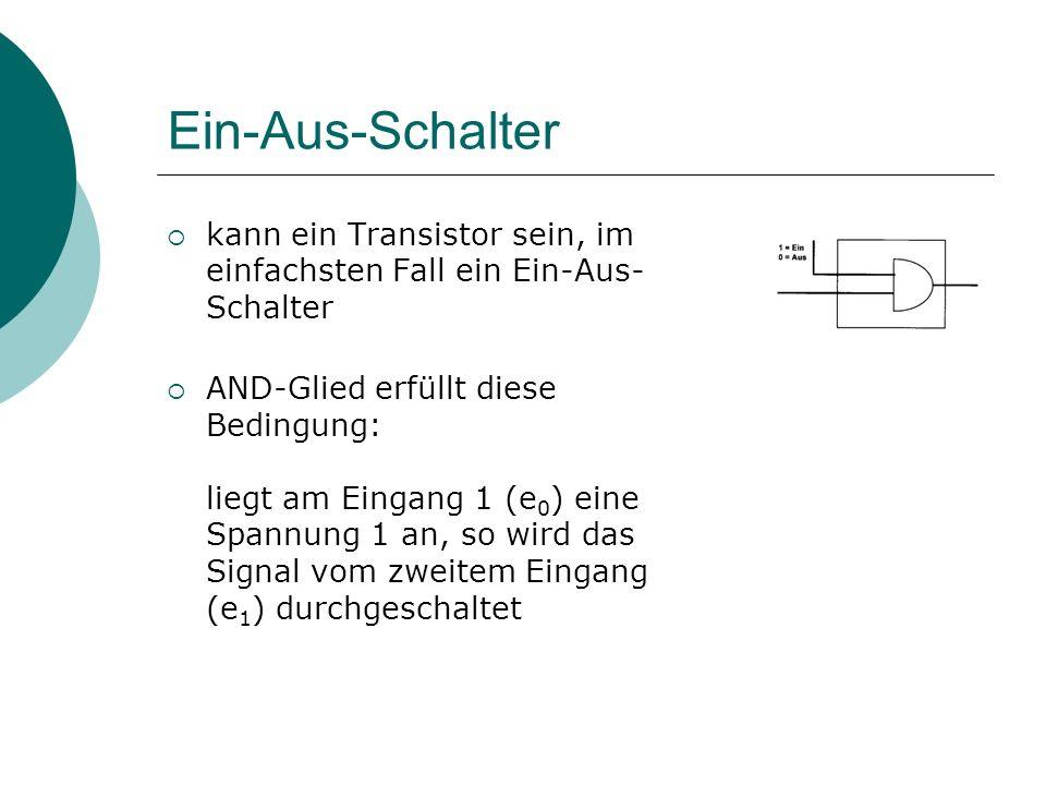 Ein-Aus-Schalter kann ein Transistor sein, im einfachsten Fall ein Ein-Aus-Schalter.