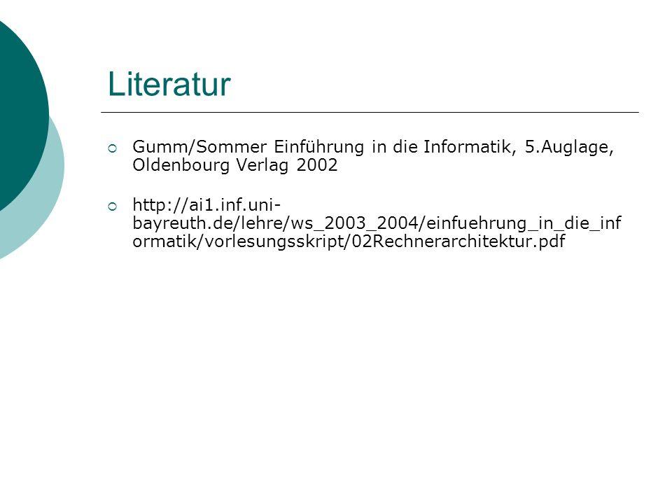LiteraturGumm/Sommer Einführung in die Informatik, 5.Auglage, Oldenbourg Verlag 2002.