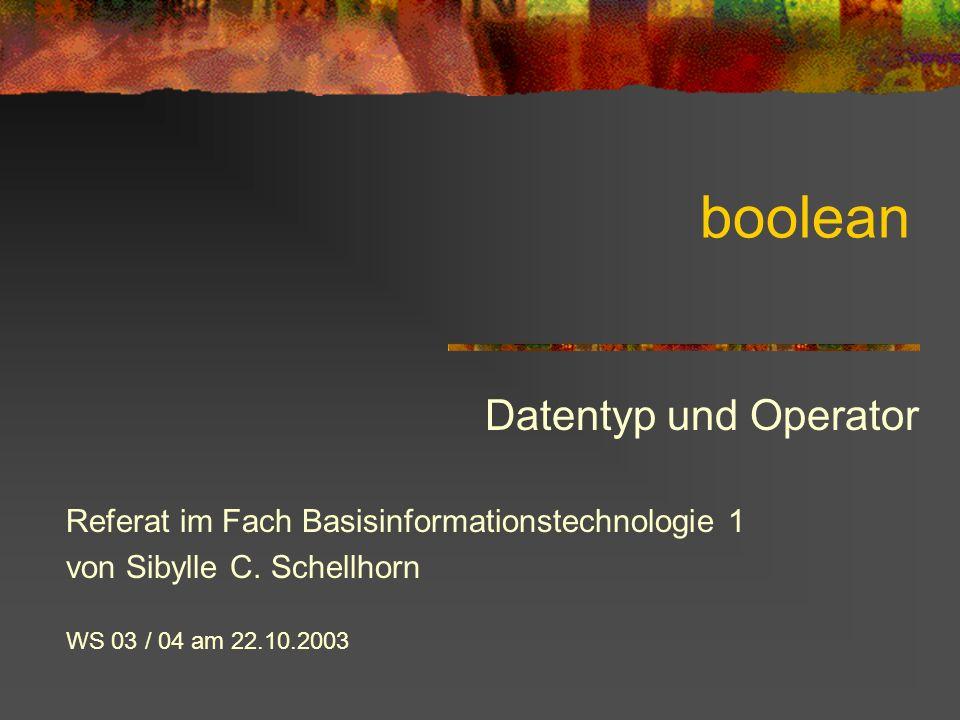 boolean Datentyp und Operator