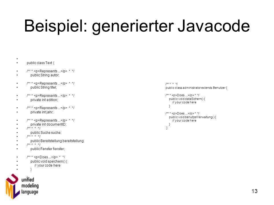 Beispiel: generierter Javacode
