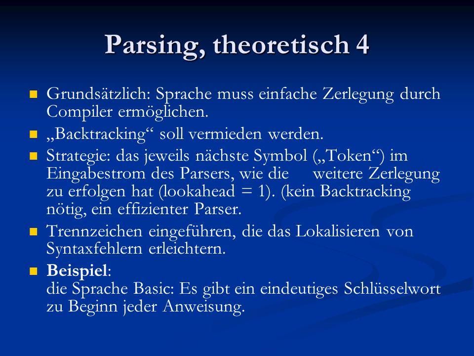 """Parsing, theoretisch 4 Grundsätzlich: Sprache muss einfache Zerlegung durch Compiler ermöglichen. """"Backtracking soll vermieden werden."""