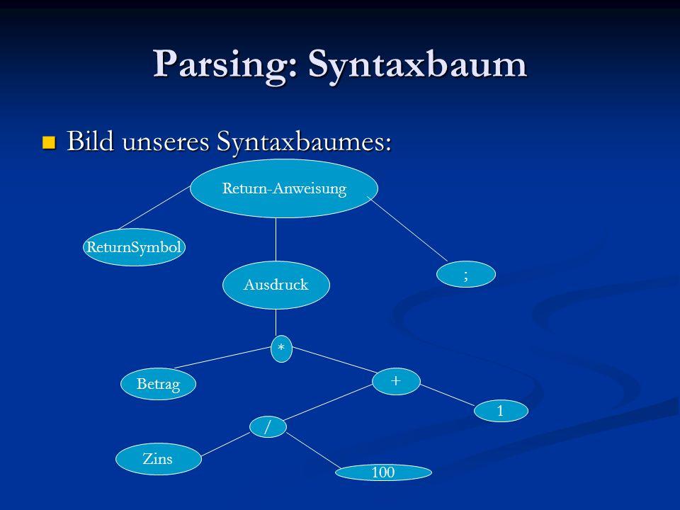 Parsing: Syntaxbaum Bild unseres Syntaxbaumes: Return-Anweisung