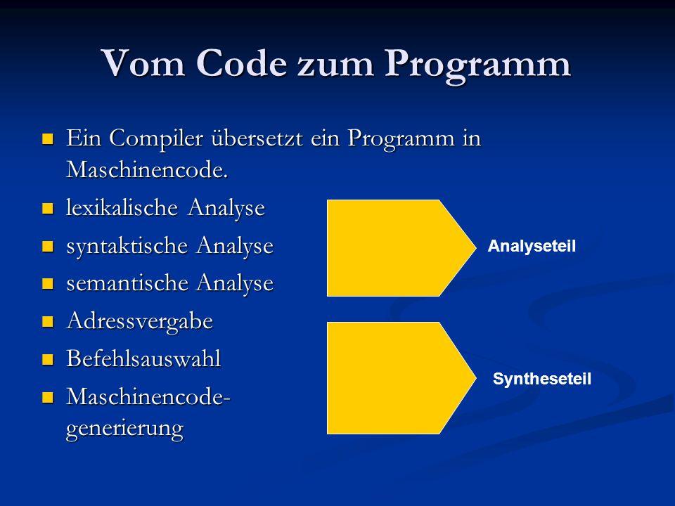 Vom Code zum Programm Ein Compiler übersetzt ein Programm in Maschinencode. lexikalische Analyse. syntaktische Analyse.