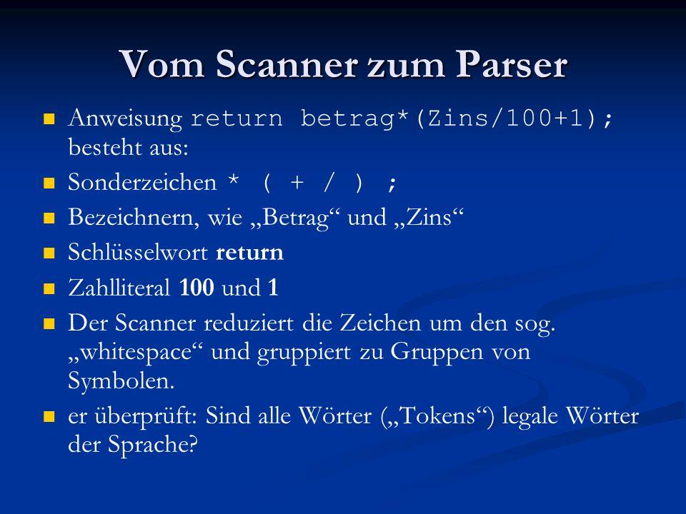 Vom Scanner zum Parser Anweisung return betrag*(Zins/100+1); besteht aus: Sonderzeichen * ( + / ) ;