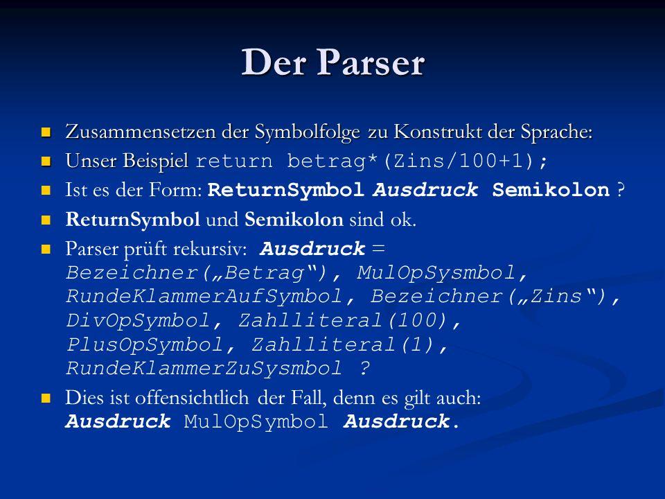 Der Parser Zusammensetzen der Symbolfolge zu Konstrukt der Sprache: