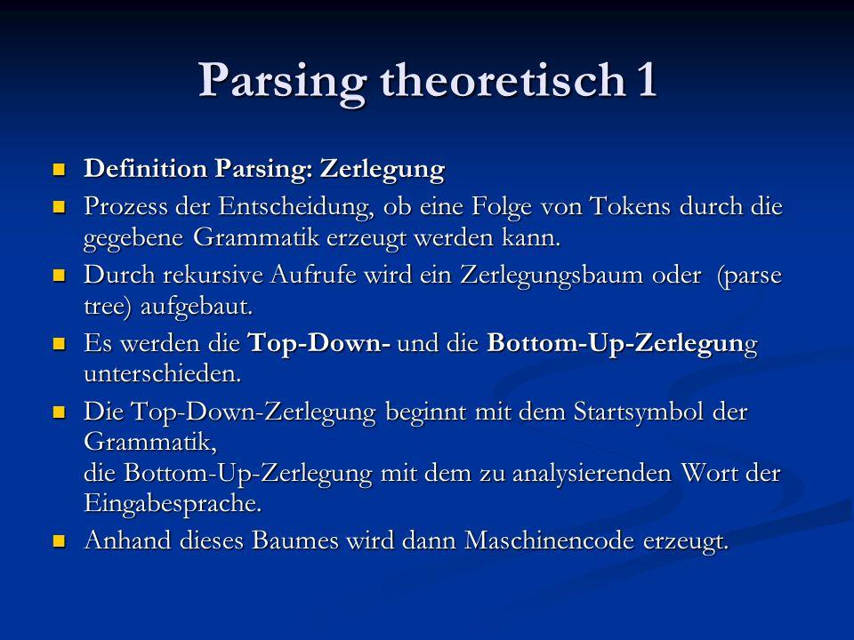 Parsing theoretisch 1 Definition Parsing: Zerlegung