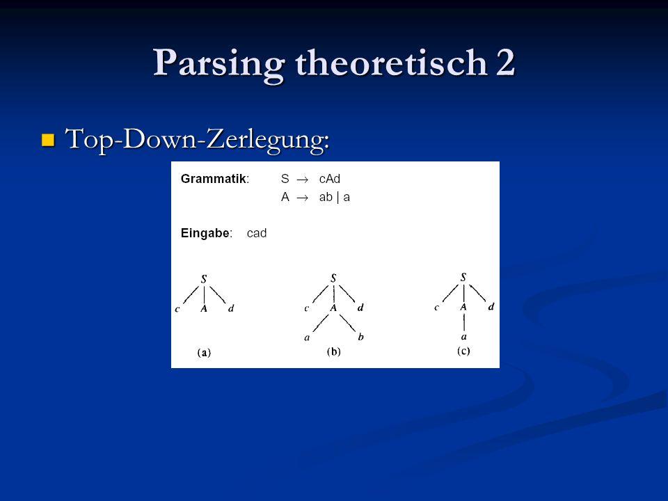 Parsing theoretisch 2 Top-Down-Zerlegung: