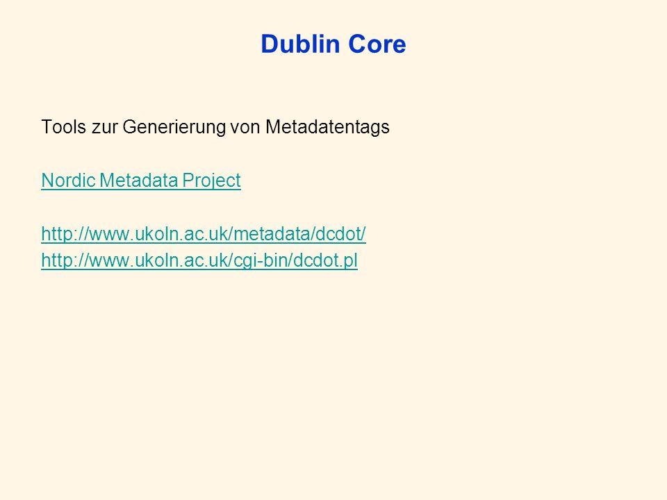 Dublin Core Tools zur Generierung von Metadatentags