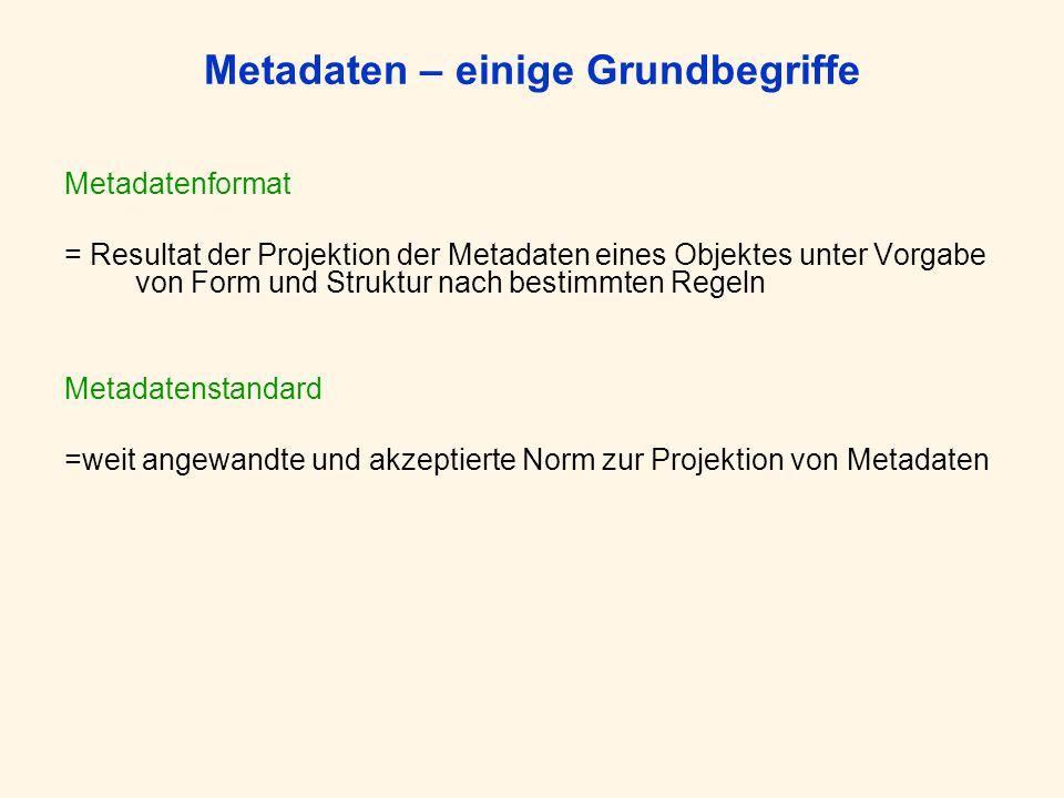 Metadaten – einige Grundbegriffe