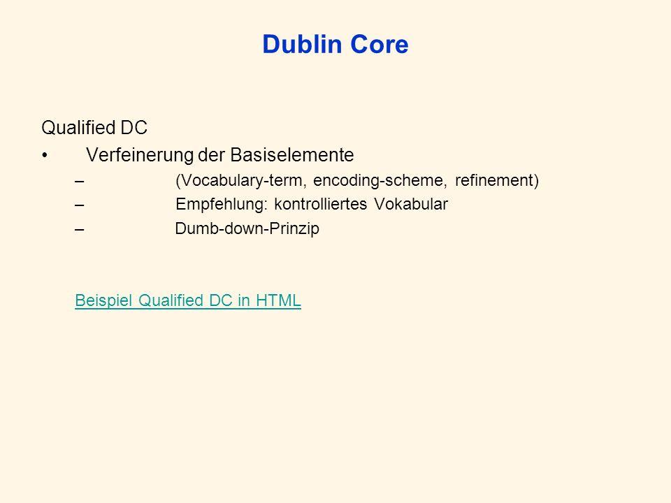 Dublin Core Qualified DC Verfeinerung der Basiselemente