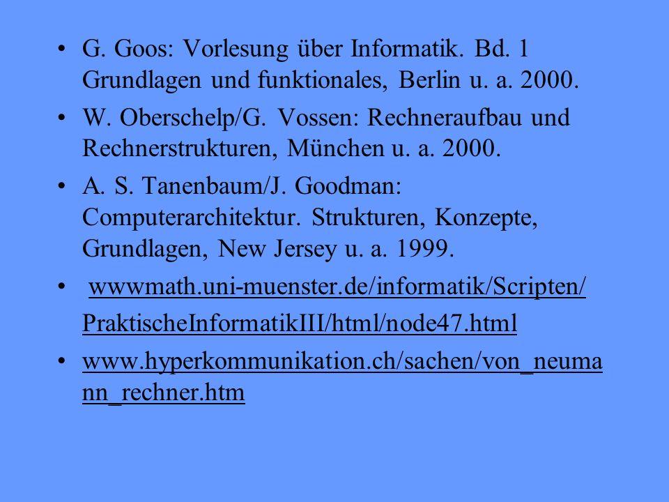 G. Goos: Vorlesung über Informatik. Bd