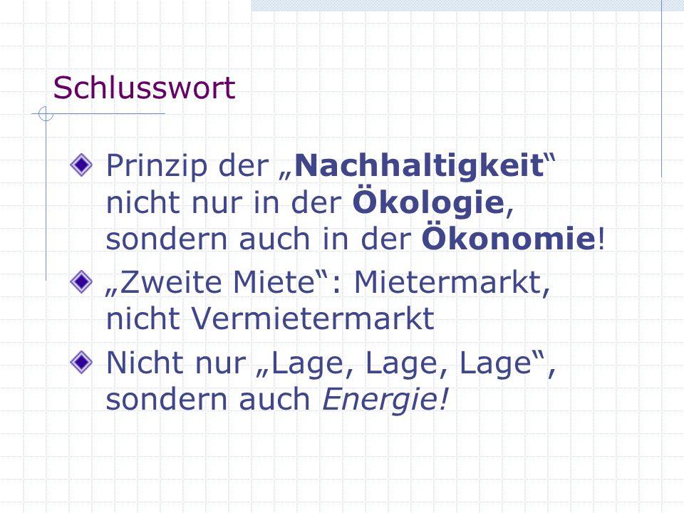 """Schlusswort Prinzip der """"Nachhaltigkeit nicht nur in der Ökologie, sondern auch in der Ökonomie! """"Zweite Miete : Mietermarkt, nicht Vermietermarkt."""