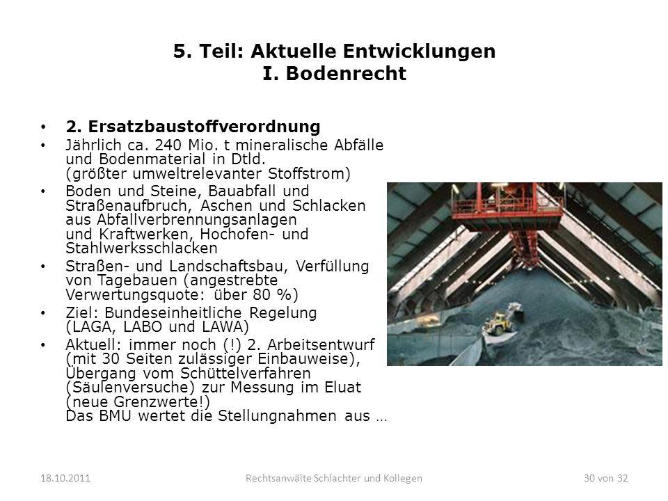 5. Teil: Aktuelle Entwicklungen I. Bodenrecht
