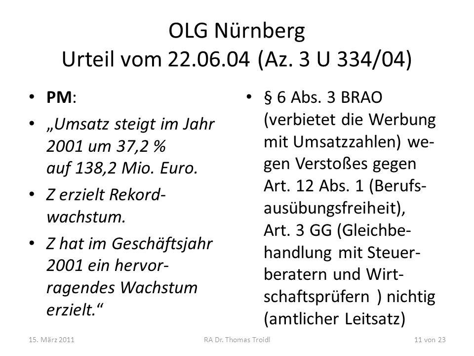 OLG Nürnberg Urteil vom 22.06.04 (Az. 3 U 334/04)