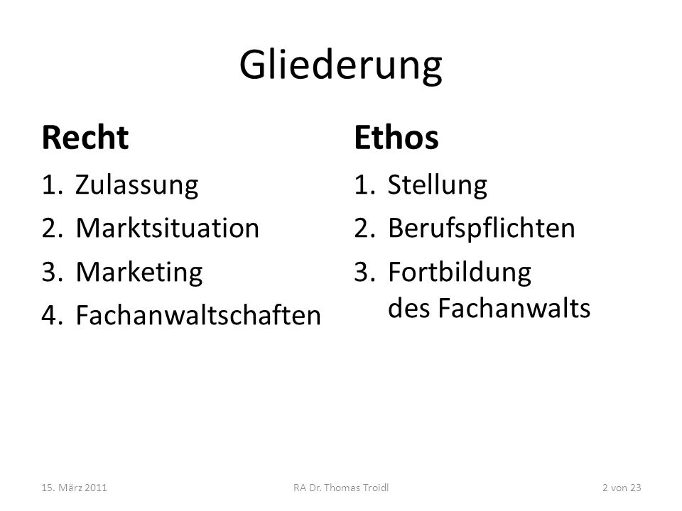 Gliederung Recht Ethos Zulassung Marktsituation Marketing