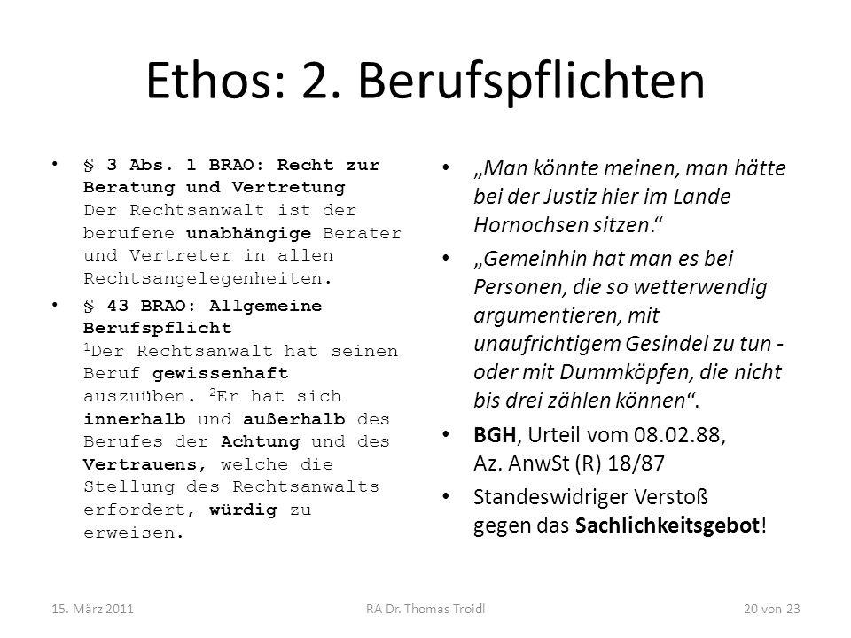Ethos: 2. Berufspflichten
