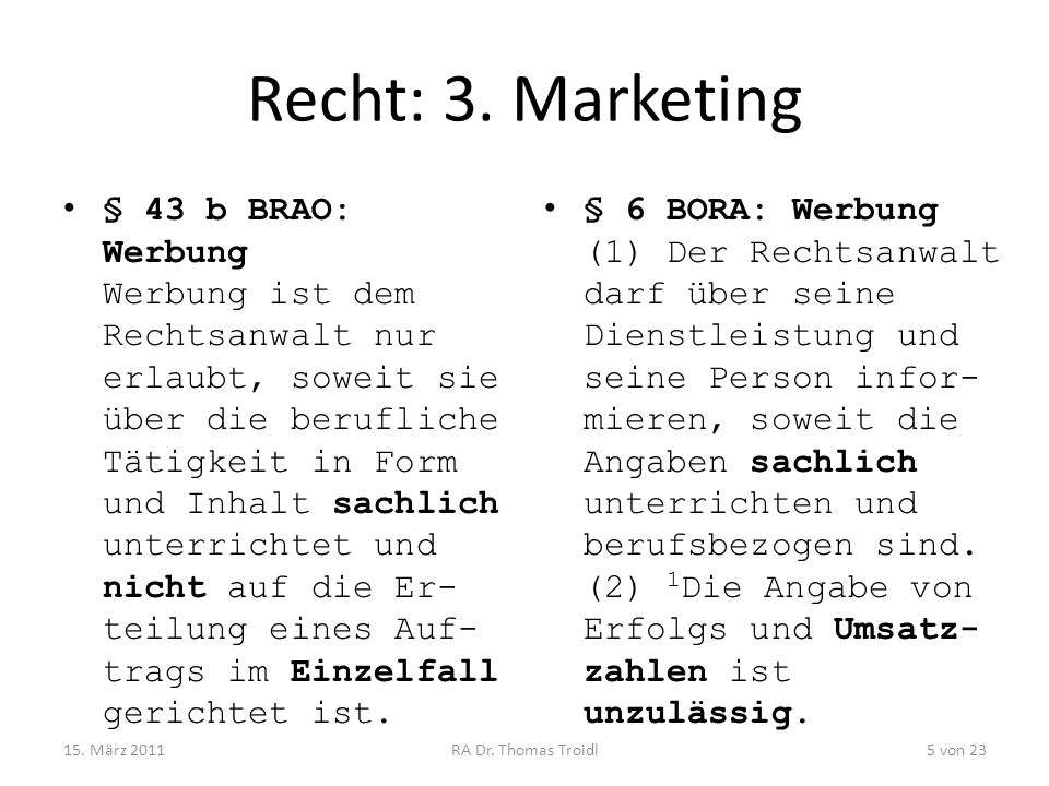 Recht: 3. Marketing