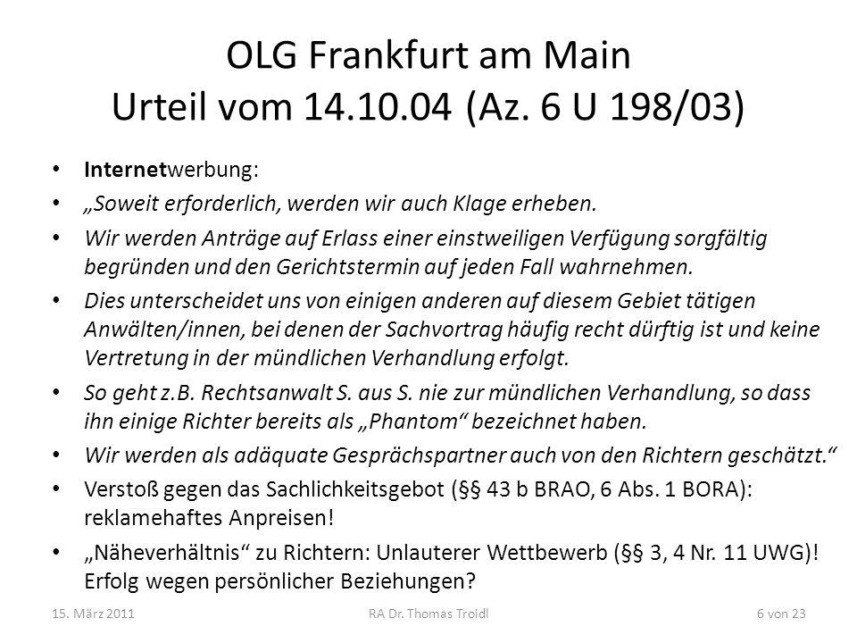 OLG Frankfurt am Main Urteil vom 14.10.04 (Az. 6 U 198/03)
