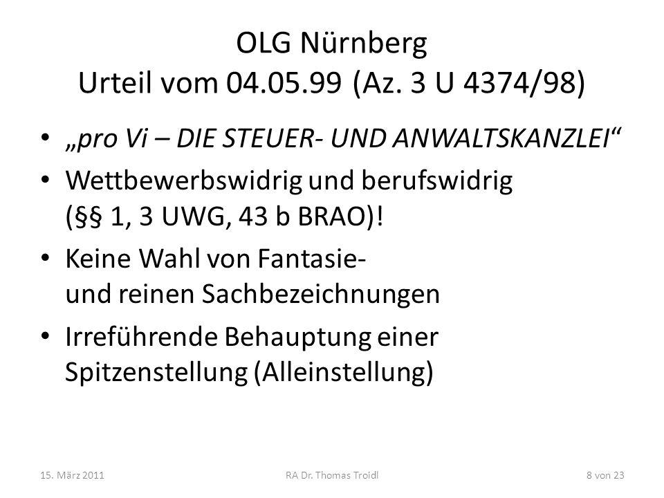 OLG Nürnberg Urteil vom 04.05.99 (Az. 3 U 4374/98)