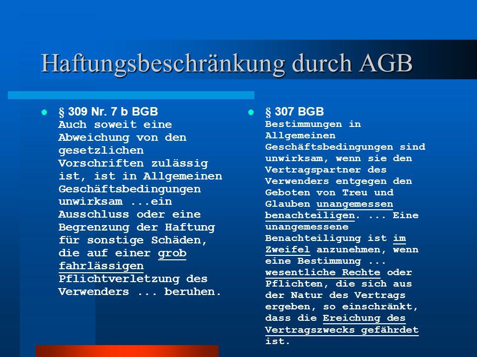Haftungsbeschränkung durch AGB