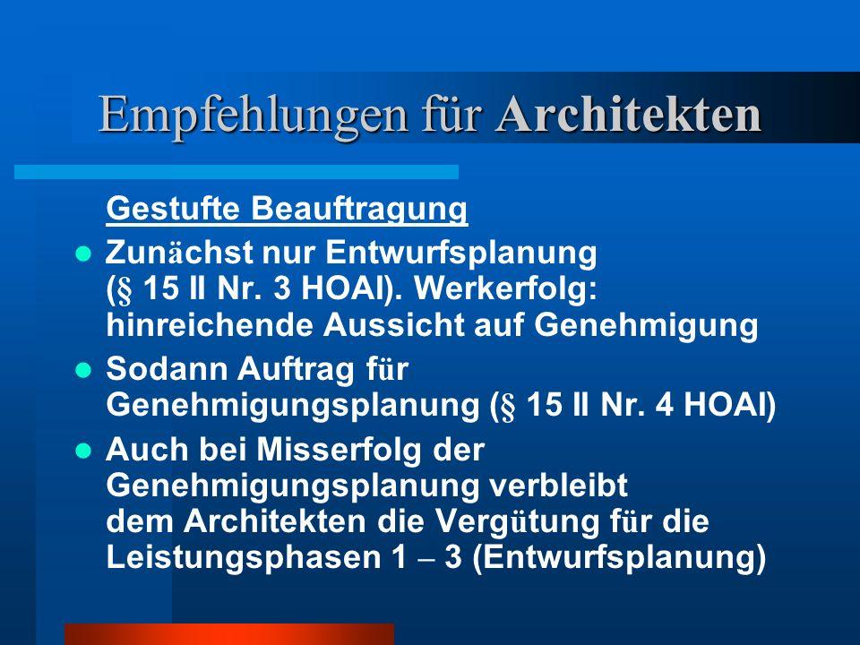 Empfehlungen für Architekten