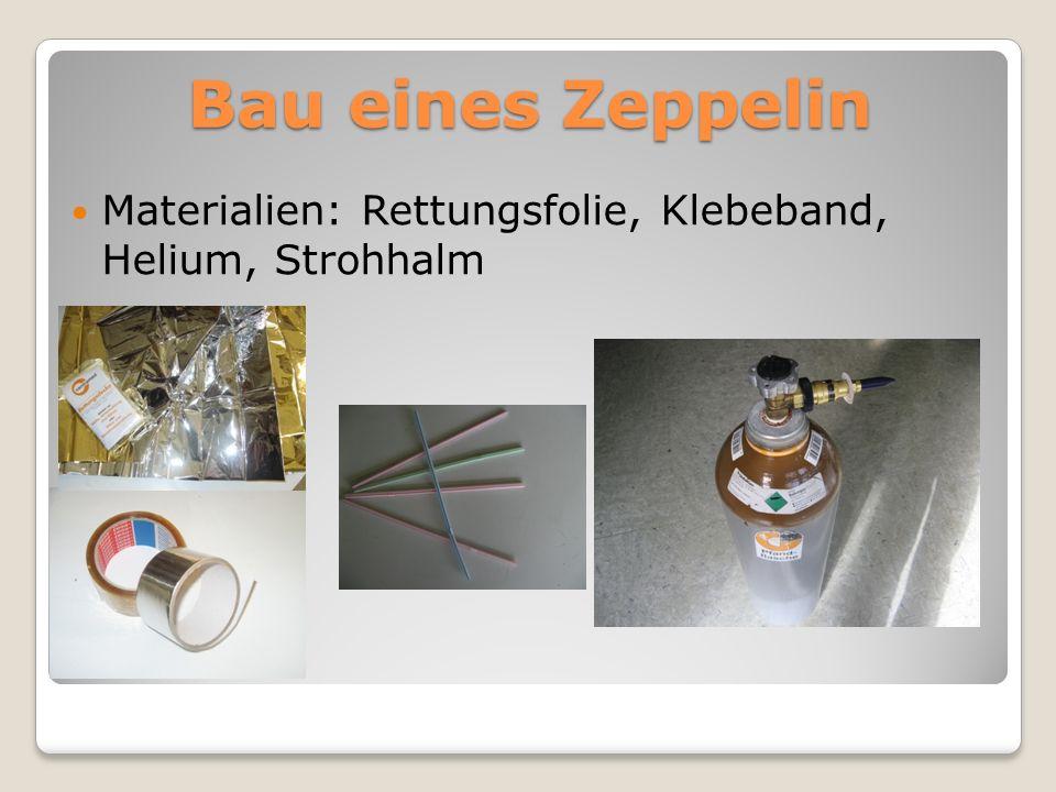 Bau eines Zeppelin Materialien: Rettungsfolie, Klebeband, Helium, Strohhalm