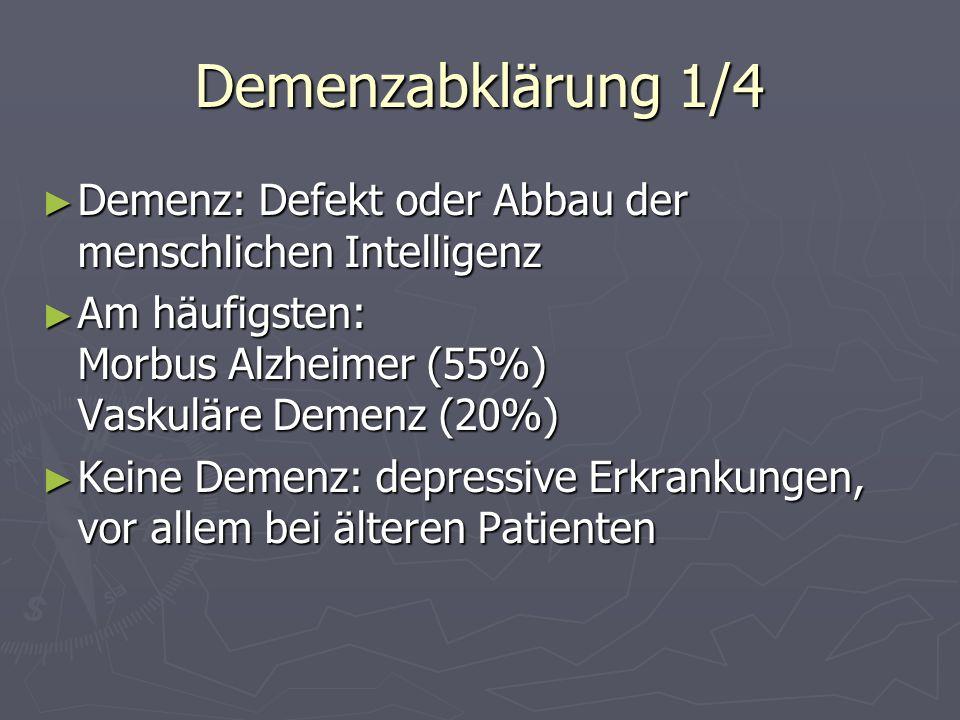 Demenzabklärung 1/4Demenz: Defekt oder Abbau der menschlichen Intelligenz. Am häufigsten: Morbus Alzheimer (55%) Vaskuläre Demenz (20%)