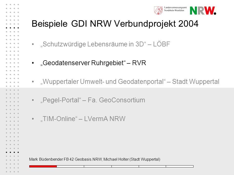 Beispiele GDI NRW Verbundprojekt 2004