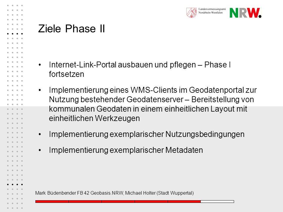 Ziele Phase II Internet-Link-Portal ausbauen und pflegen – Phase I fortsetzen.