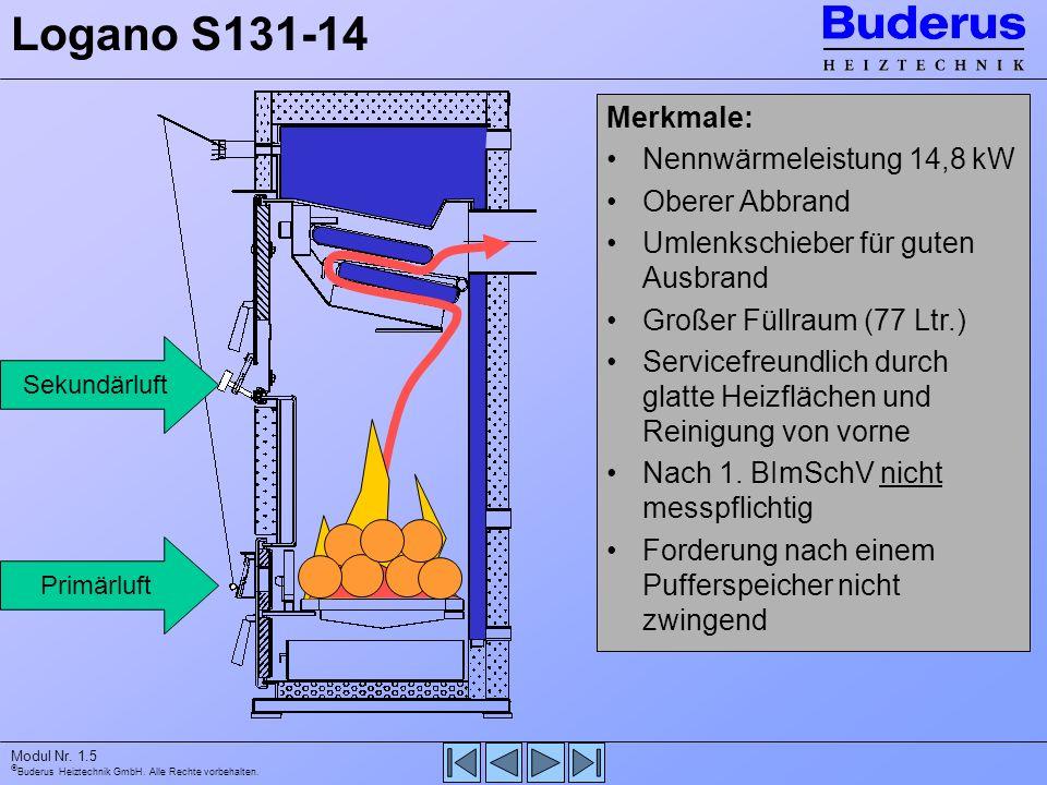 Logano S131-14 Merkmale: Nennwärmeleistung 14,8 kW Oberer Abbrand
