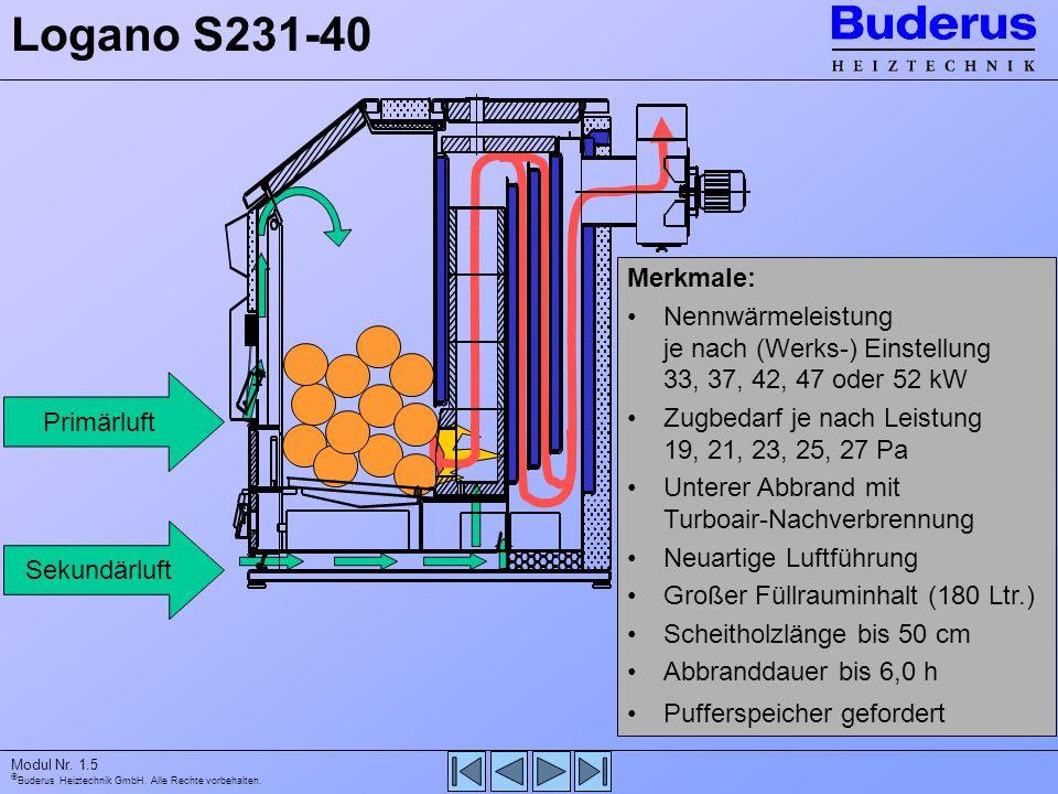 Logano S231-40 Primärluft. Sekundärluft. Merkmale: Nennwärmeleistung je nach (Werks-) Einstellung 33, 37, 42, 47 oder 52 kW.