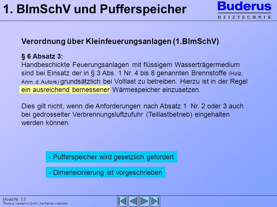 1. BImSchV und Pufferspeicher
