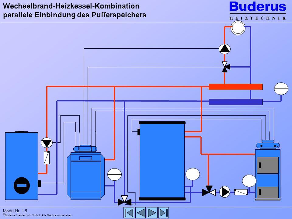 Wechselbrand-Heizkessel-Kombination parallele Einbindung des Pufferspeichers