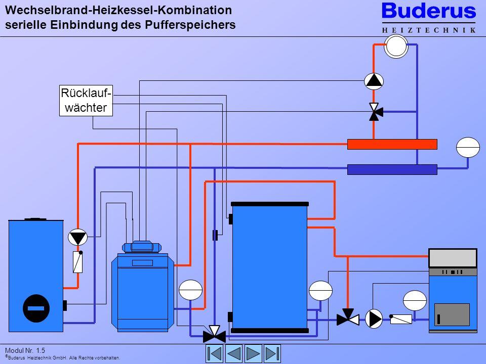 Wechselbrand-Heizkessel-Kombination serielle Einbindung des Pufferspeichers