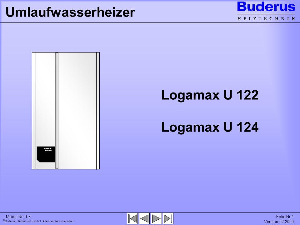 Umlaufwasserheizer Logamax U 122 Logamax U 124 Modul Nr.:1.8