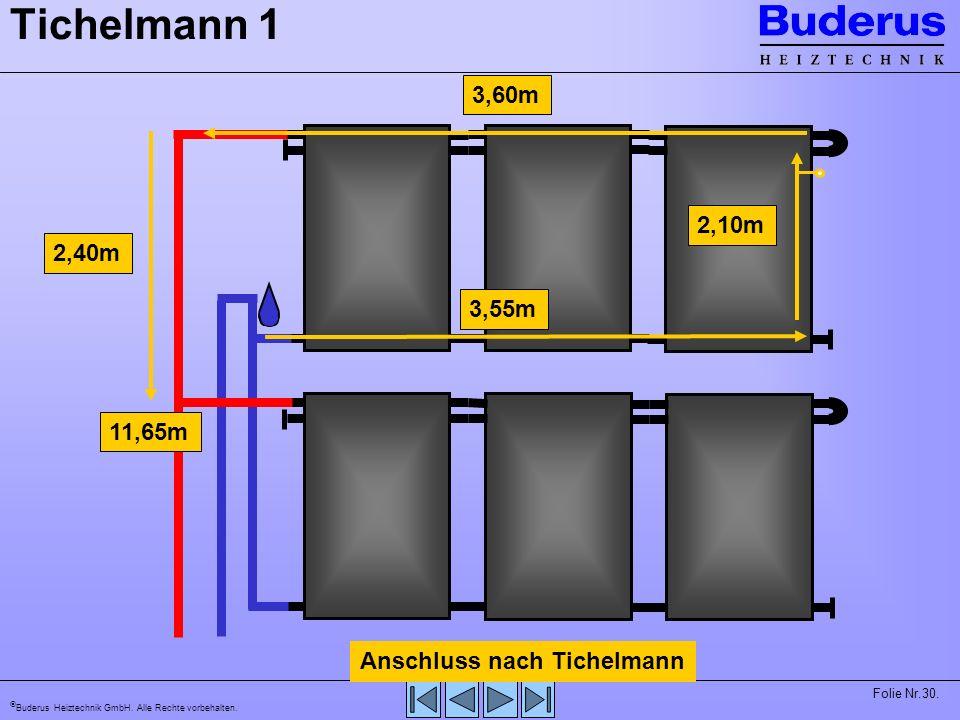 Tichelmann 1 3,60m 2,10m 2,40m 3,55m 11,65m Anschluss nach Tichelmann