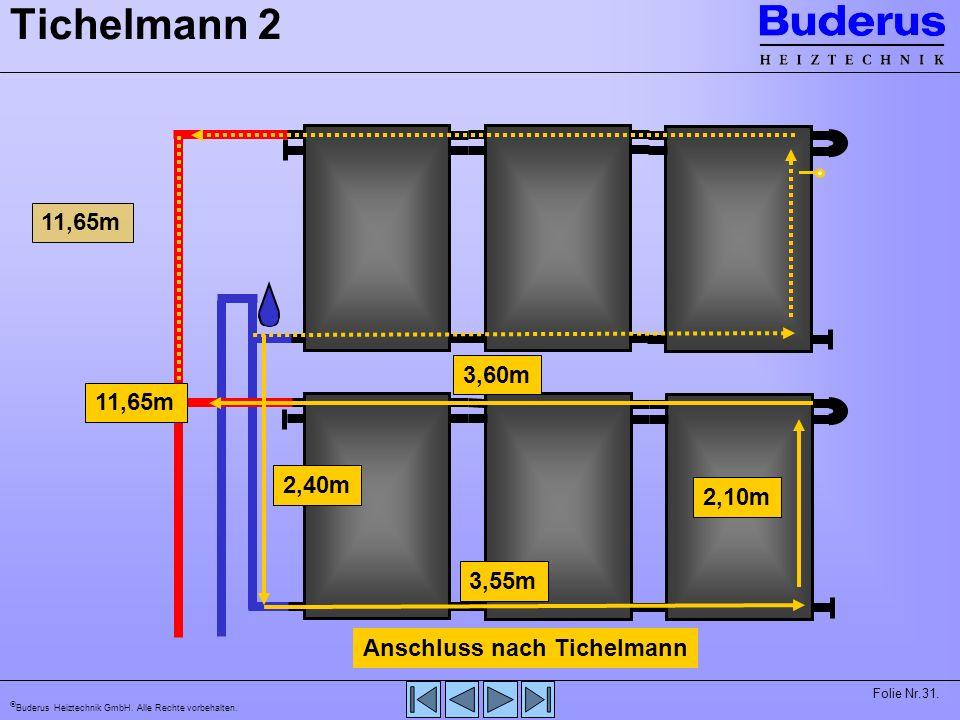 Tichelmann 2 11,65m 3,60m 11,65m 2,40m 2,10m 3,55m Anschluss nach Tichelmann