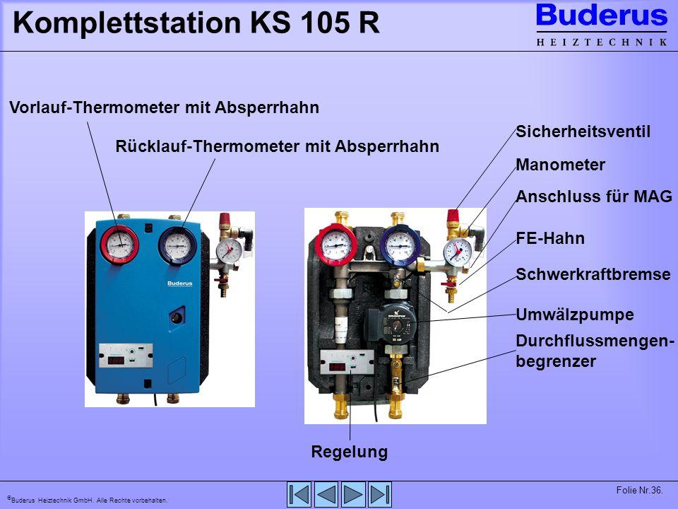 Komplettstation KS 105 R Vorlauf-Thermometer mit Absperrhahn
