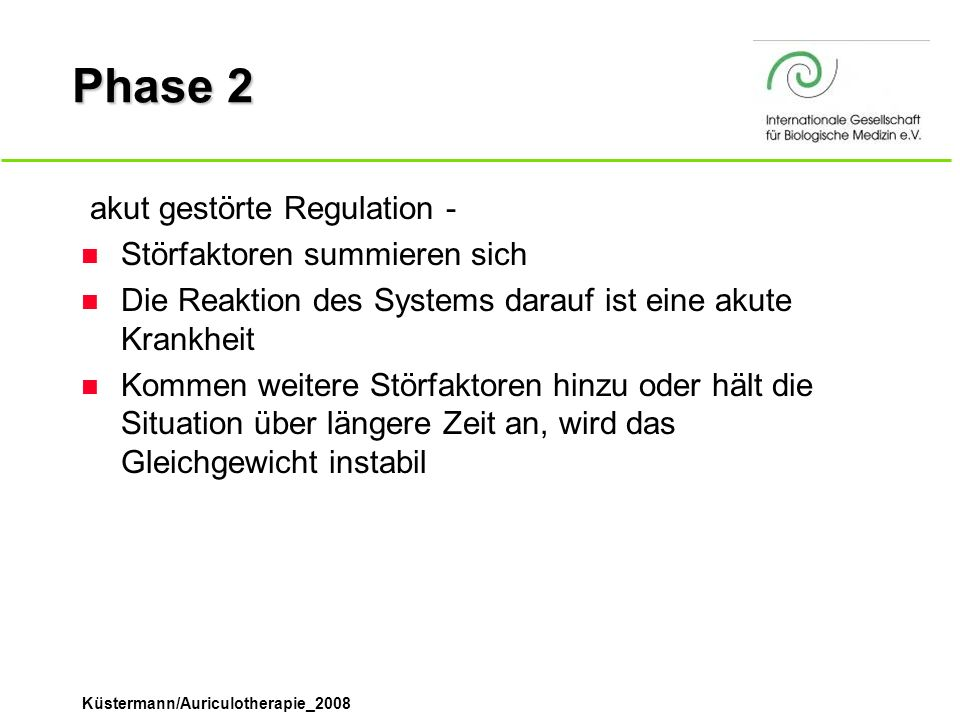 Phase 2 ­ akut gestörte Regulation - Störfaktoren summieren sich
