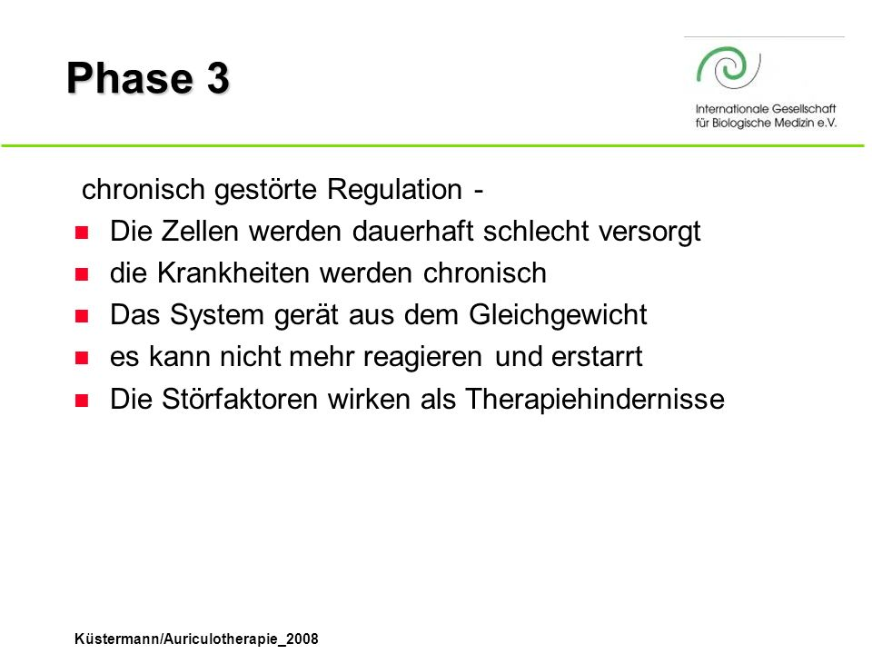 Phase 3 ­ chronisch gestörte Regulation -