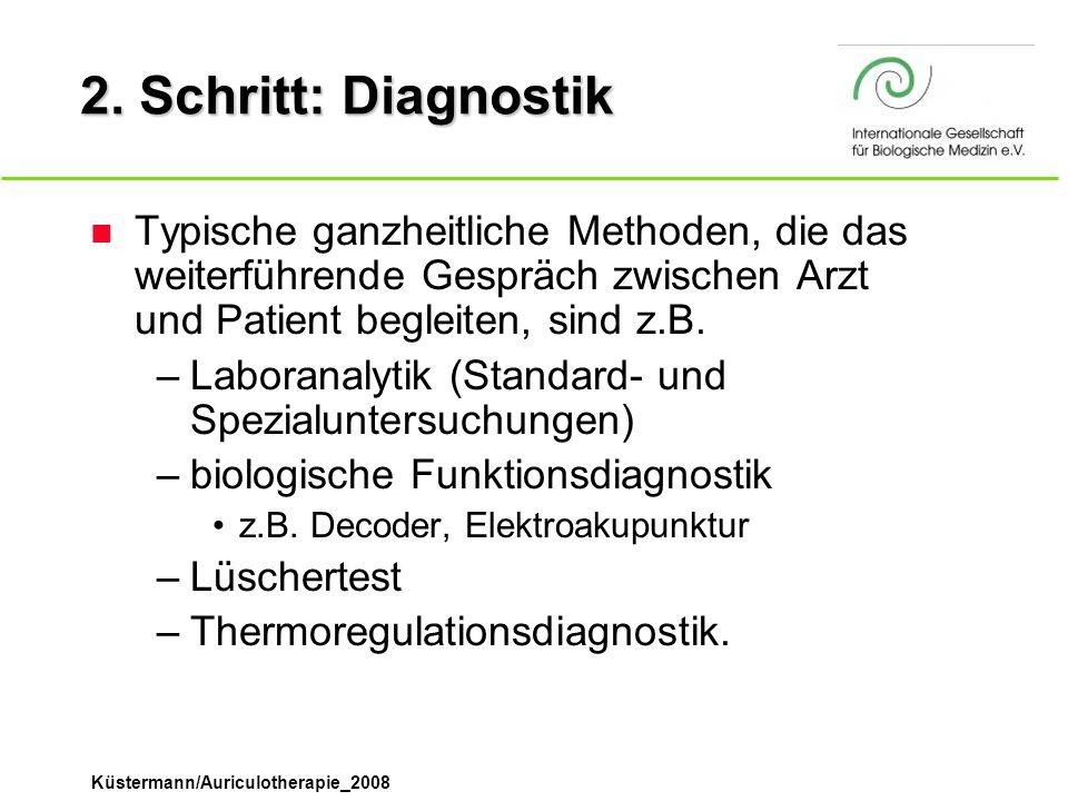 2. Schritt: Diagnostik Typische ganzheitliche Methoden, die das weiterführende Gespräch zwischen Arzt und Patient begleiten, sind z.B.