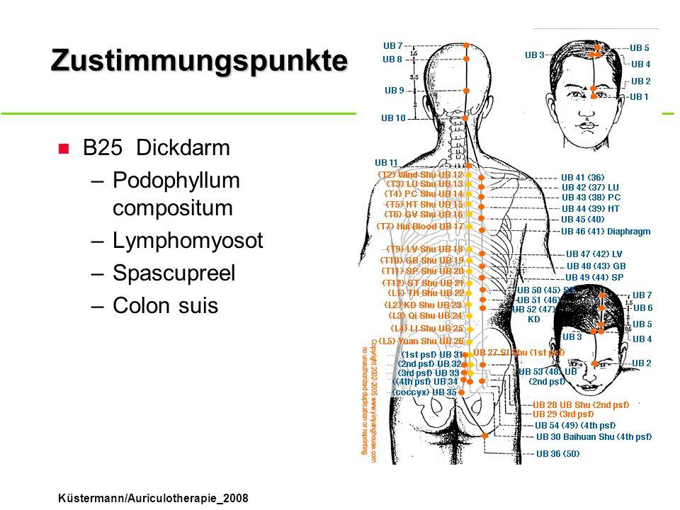 Zustimmungspunkte B25 Dickdarm Podophyllum compositum Lymphomyosot