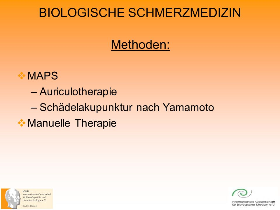 Methoden: MAPS Auriculotherapie Schädelakupunktur nach Yamamoto