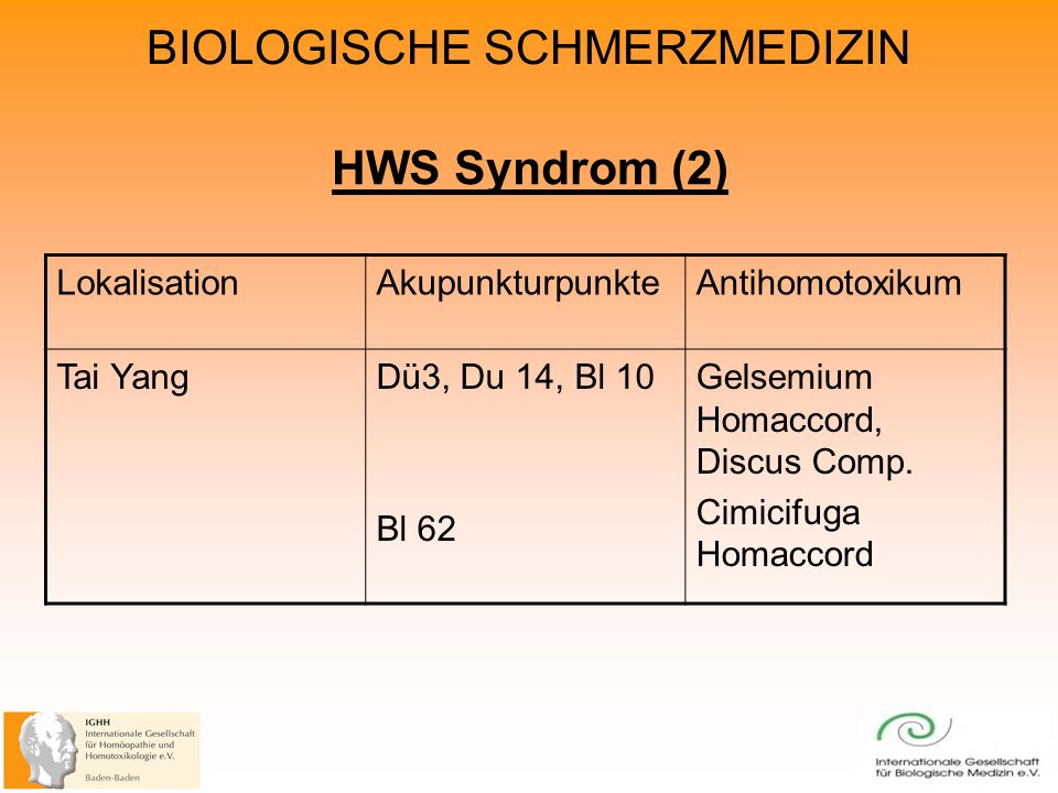 HWS Syndrom (2) Lokalisation Akupunkturpunkte Antihomotoxikum Tai Yang