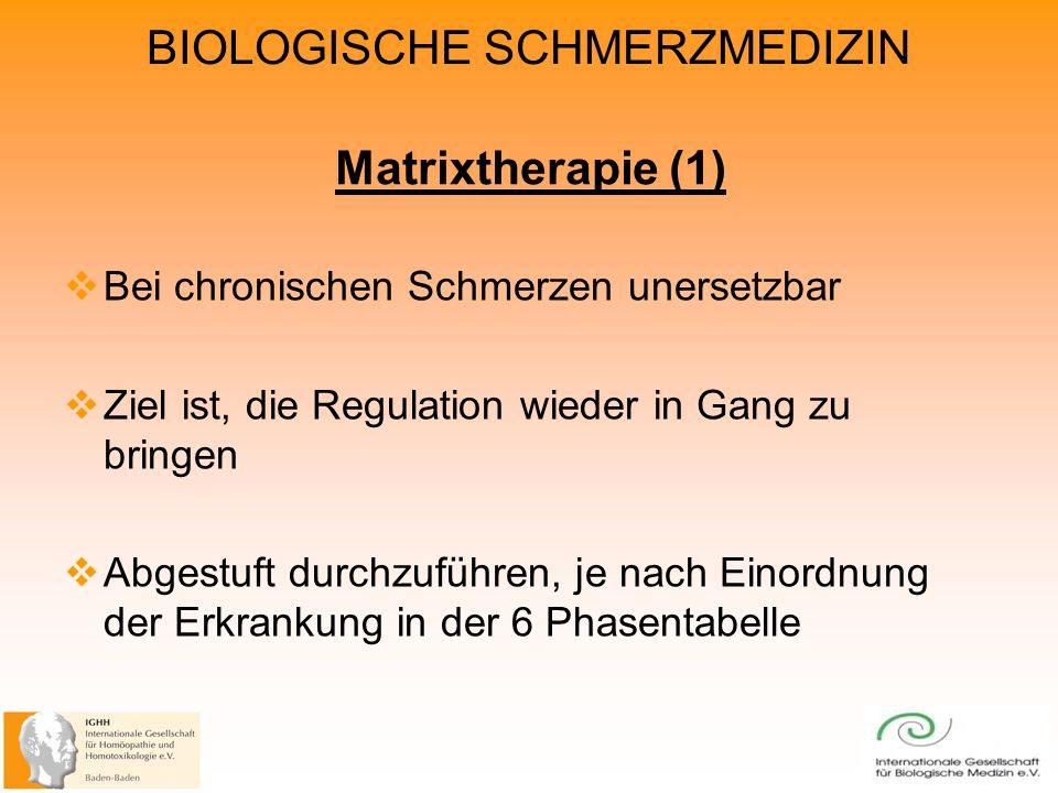 Matrixtherapie (1) Bei chronischen Schmerzen unersetzbar