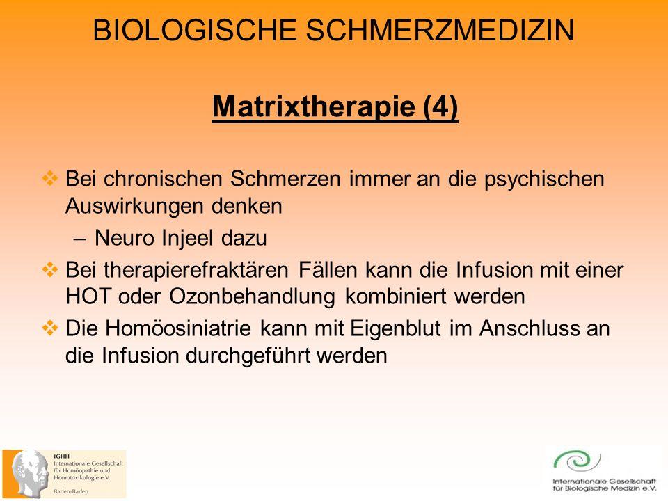 Matrixtherapie (4) Bei chronischen Schmerzen immer an die psychischen Auswirkungen denken. Neuro Injeel dazu.