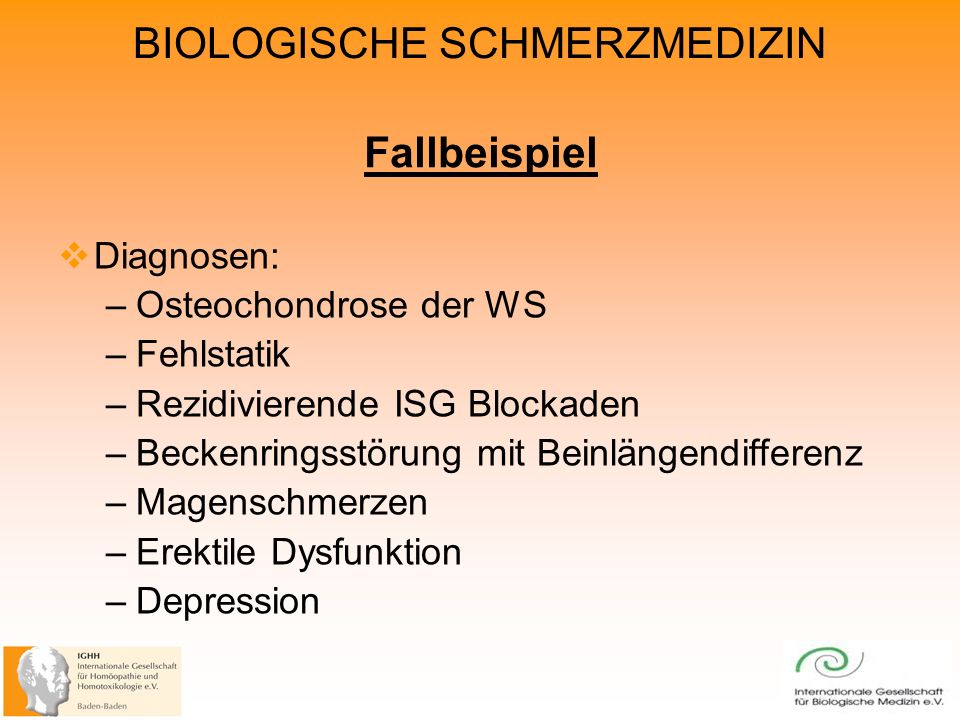 Fallbeispiel Diagnosen: Osteochondrose der WS Fehlstatik