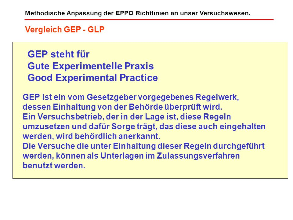 Gute Experimentelle Praxis Good Experimental Practice